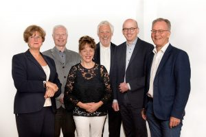 Het dagelijks bestuur bestaat uit de volgende personen: v.l.n.r.: prof. dr. M. de Visser, prof. dr. J.P.M. van Putten, prof.dr. H.F.M. te Molder, prof. dr. ing. S. Schaap (voorzitter), dr. ir. F. van der Wilk (algemeen secretaris) en prof. dr. N.M. van Straalen (plv. voorzitter).